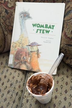 Wombat Stew Recipe - your kids get to eat mud, feathers, flies & creepy crawlies with this yummy recipe! aka pudding, coconut, raisins & gummy worms.