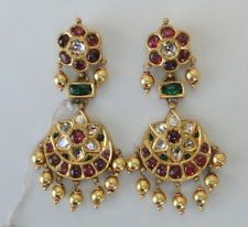 VINTAGE ANTIQUE 20K GOLD DIAMOND POLKI KUNDAN EARRING PAIR TAMIL NADU SOUTH IND