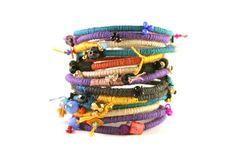 Multicolour boho cotton rope bracelets // Handmade by BeadABoo https://www.etsy.com/listing/216077330/multicolour-boho-cotton-rope-bracelets?ref=shop_home_active_21