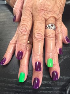 Deep purple with Fluro green | Nails by Bex Fisher