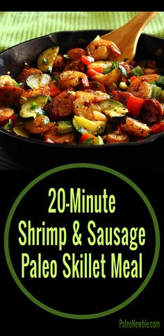 Quick and easy all-in-one hot skillet dish loaded with healthy protein and veggies. A little different surf & turf combo that's paleo and gluten-free.