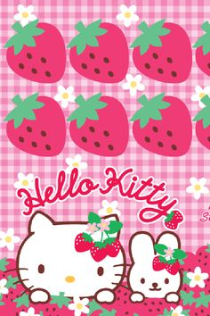 Hello kitty and strawberries Hello Kitty Iphone Wallpaper, Ipod Wallpaper, Hello Kitty Backgrounds, Sanrio Wallpaper, Ipod Backgrounds, Wallpaper Stickers, 3d Wallpaper Christmas, Hello Kitty Drawing, Hello Kitty Imagenes
