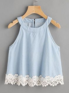 Womens Fashion - Lace Hem Keyhole Back Chambray Top Girl Outfits, Casual Outfits, Summer Outfits, Pretty Outfits, Cute Outfits, Mode Top, Teen Fashion, Womens Fashion, Chambray Top