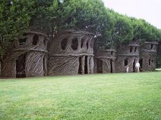 Patrick Dougherty: weaves tree saplings into whirling, animated shapes that resemble tumbleweeds or gusts of wind. He has made over 200 sapling sculptures - woolly lairs and wild follies, gigantic snares, nests and cocoons, some woven into groves of trees, others lashed around buildings.
