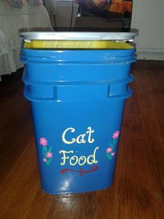 Not sure if the plastic is food safe but a good idea for pet food.