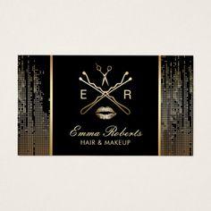 Makeup Artist Hair Salon Logo Trendy Black & Gold Business Card