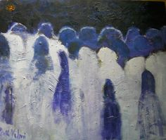 The Followers. Oil painting by Ruth Vilmi. 50x61cms. For sale.