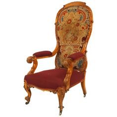 For Sale on - English Victorian carved satinwood high balloon shaped back armchair with needlepoint upholstery. Country Victorian Decor, Victorian Crafts, Victorian Homes, Southwestern Fabric, High Back Armchair, Antique Restoration, Balloon Shapes, Antique Chairs, Carving