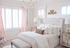 pink and gold girls glam bedroom with tufted wingback headboard