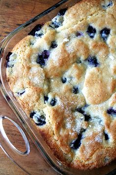 buttermilk-blueberry breakfast cake. you can prep the batter the night before and toss in the oven in the morning.