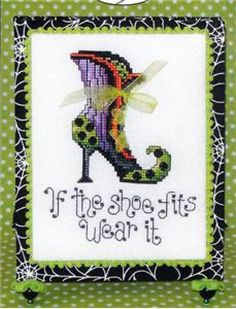 Witch's Shoe is the title of this cross stitch pattern from Sue Hillis Designs.