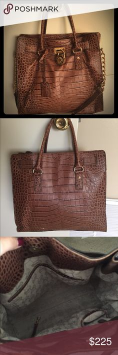 Brown Faux Crocodile Skin Leather Tote Bag Product in very good condition. No stains on the inside or outside. Michael Kors Bags Totes