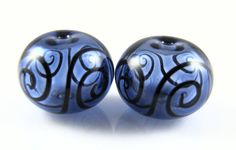 Sapphire Blue and Black Scroll Hollow Glass Bead by AlishaWhite