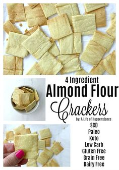 These almond crackers are salty, crispy, and SO easy to make. Homemade crackers are healthier than store bought and this low carb snack has only four ingredients and takes just 15 minutes to make…More 15 Easy Keto Appetizer Ideas Gluten Free Grains, Gluten Free Recipes, Low Carb Recipes, Scd Recipes, Almond Flour Recipes, Almond Meal Cracker Recipe, Flaxseed Meal Recipes, Keto Chia Seed Recipes, Salt Free Recipes
