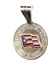 Puerto Rico Flag Pendant .925 Sterling Silver - Puerto Rico Flag Pendant