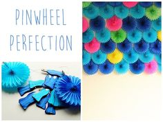 Use bright paper fans to create a wall of pinwheels.