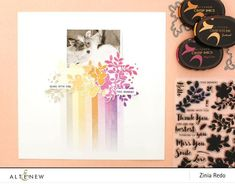 Hello, Altenew fans, it's Zinia here and today I'm back with another fun layout using the Halftone Squares Stamp Set. I used the thin halftone rectangle from this set to… Scrapbook Examples, Scrapbooking Ideas, Bridal Shower Scrapbook, Shadow Images, Gradient Background, Modern Fonts, Altenew, Layout Inspiration, Ink Color