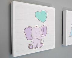 Nursery Art Canvas, Animal Art, Baby Decor, Baby Elephant, Mint Green Balloon, Kids Decor, Wood Background, Modern Art  - 12x12 or 20x20 by HappyHippoArts on Etsy https://www.etsy.com/listing/203325623/nursery-art-canvas-animal-art-baby-decor
