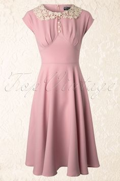 Bunny - 40s Emilie Dress in Baby Pink