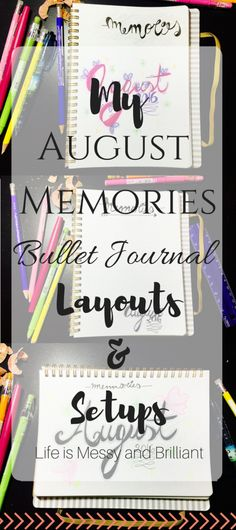 Bullet Journal: Three Monthly August Memories Layout