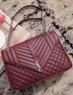 fe59a488830 Saint Laurent Classic Large Soft Envelope in Wine Red Mixed Matelasse  Leather. Find more YSL