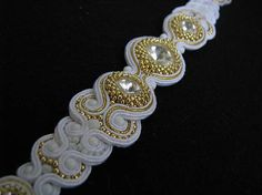 White/Gold náramok...soutache