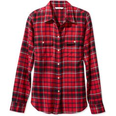 L.L.Bean Signature Signature Lightweight Flannel Shirt, Plaid ($59) ❤ liked on Polyvore featuring tops, red tartan shirt, red top, plaid top, plaid shirts and fitted plaid shirt