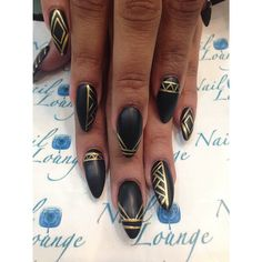Black & gold stiletto nail art☻♥♥