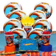 Hot Wheels Wild Racer Birthday Party Deluxe Hoopla Tableware Kit (Serves 8) - Party Supplies