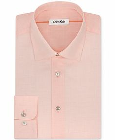 Calvin Klein Liquid Cotton Solid Light Peach Dress Shirt