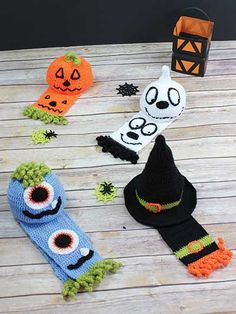 """Your little goblins will stay warm with these fun hats and scarves!   This easy-to-follow crochet pattern helps you to create a selection of hats and scarves to add to your Halloween festivities. Included are instructions to make the witch hat, pumpkin hat, ghost hat, monster hat and scarves to match. All are made using a light- weight yarn. Instructions are written for NB (0-3 mos, 3-6 mos, 6-12 mos) and 1-3 years.  Scarf is 4"""" x 35""""."""