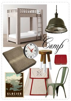 Camp themed styleboard for little boys room