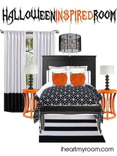 Black, White & Orange Halloween Inspired Room… #halloween #decor #decorate #room #teen #style #home #bedroom #orange