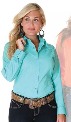 Womens Wrangler Turquoise Embroidered Long Sleeve Snap Shirt