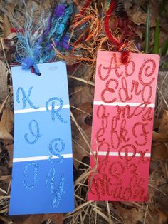 Paint chip bookmarks - end of the year gifts with student names for summer reading with a special note on back??