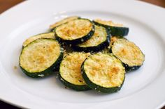 Zucchini Parmesan Bites (baked made with olive oil) So this is a fairly healthy side, appetizer or snack.