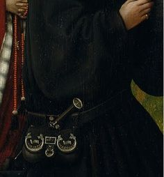 Ring on man's finger. Detail from Merode Altarpiece. Robert Campin's Triptych