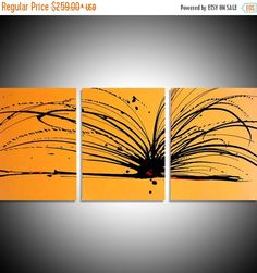 modern art painting triptych contemporary yellow by wrightsonarts