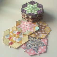 English paper piecing; pattern and fabric combination inspiration