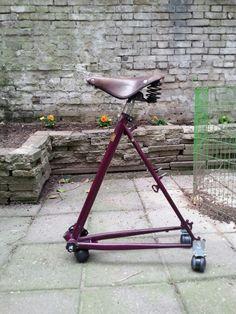 Der alte Fahrradrahmen kann weiterleben! Aus dem scheinbar unnützen Fahrradrahmen wird ein stylischer Bürosessel.