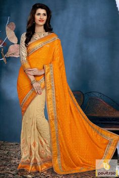 Eye popping looking orange cream net designer saree online with offer and get discount deal online. it is made with embroidery and perfect for every festival. #partywearsaree, #partysaree, #designerpartysaree, #embroiderysaree, #designersaree, #netpartywearsaree, #discountoffer, #pavitraafashion, #utsavfashion, #creampartysaree http://www.pavitraa.in/store/party-wear-saree/ callus:+91-7698234040