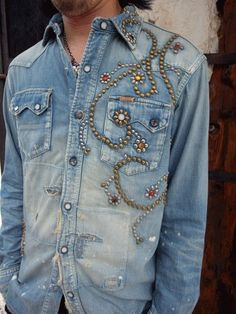Stud Denim. could always add studs to the quilt...but maybe not.