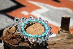 Kingman Turquoise and Swarovski Crystal Hoop Earrings by NativeAmericanBling on Etsy