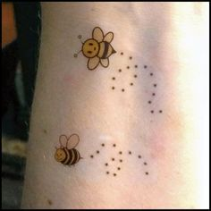 honey bee tattoos on wrist | This is a set of 2 temporary tattoos:::.. Cute honey bees buzzing ...
