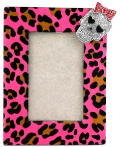 Betsey Johnson Picture Frame, Antique Silver-Tone Pink Leopard and Skull Picture Frame - Fashion Jewelry - Jewelry & Watches - Macy's