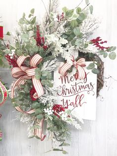 Diy christmas wreaths 19492210875440158 - Check out this beautiful Merry Christmas Wreath. For your DIY Christmas crafts, find everything you need Holiday season from Christmas ribbons and floral supplies by Kelea's Source by keleas Blue Christmas, Christmas Craft Show, Christmas Swags, Christmas Ribbon, Rustic Christmas, Merry Christmas, Primitive Christmas, Christmas Christmas, Christmas Wreaths For Front Door