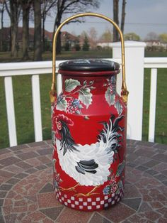 Beautiful all hand painted toleware treasure from Andrea!! Metal milk can is 9 in tall, 12 in tall including bail handle. Perrrrrfect for french country toleware collection.
