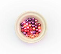 35 perles en verre nacrées de 6 mm assortiment de couleur : Perles en Verre par chely-s-creation