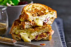 Cheese, bacon and fig toasties National Grilled Cheese Day, Best Grilled Cheese, Grilled Cheese Recipes, Best Cheese, Sandwich Recipes, Lunch Recipes, Ham And Cheese Toastie, Cheese Toasties, Fig Recipes