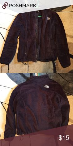 The North Face fuzzy jacket The North Face black fuzzy jacket. The fabric is worn down quite a bit from multiple wears and washes. The color has also faded some. The North Face Jackets & Coats